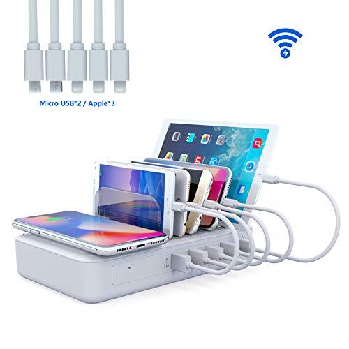 YOJA Kabellos Ladestation Mehrere Geräte Wireless Charger 5 Port USB Charging Station Multi Ladestation Handy Tablet mit Kabellos Induktives Ladegerät (Inklusive 5 Kurze Kabel, 2 Typ)