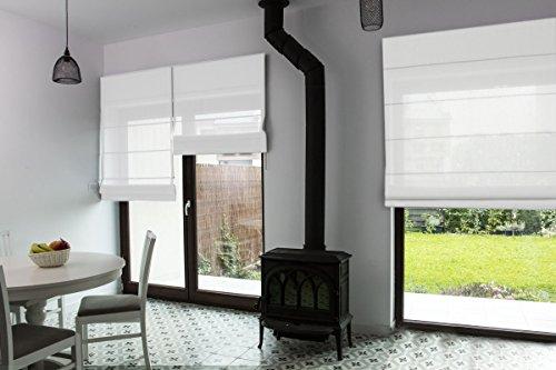 Premium-Raffrollo nach Maß, Raff-Gardinen, Vorhang, hochqualitative Wertarbeit, alle Größen verfügbar, halbtransparent, maßgefertigt, Klemmfix ohne Bohren (140cm Höhe x 130cm Breite/Weiß)