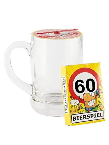 Udo Schmidt GmbH & Co 60. Geburtstag Bier-Spiel mit Bierglas transparent-bunt 500ml