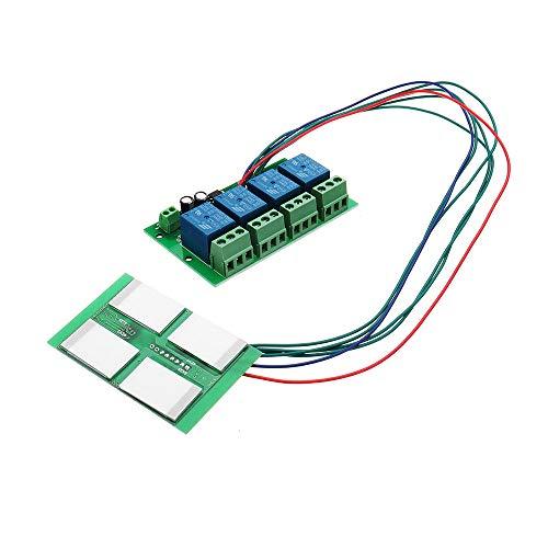 Condensadores 4 Canales Módulo de Interruptor de botón táctil Capacitivo con relé y función de Enclavamiento automático 12V