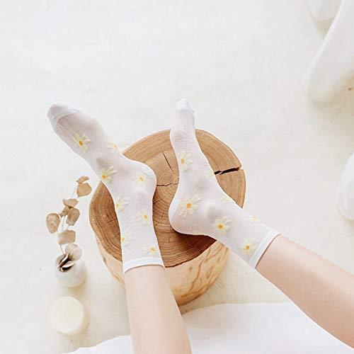 KANGDE Calcetines geniales de Verano para Mujer Calcetines de Malla Finos Transparentes con Flores de Margarita Bonitas Calcetines de Tubo para Mujer de Moda