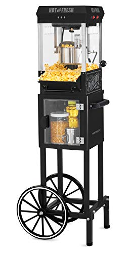 Nostalgia KPM220CTBK 2.5 oz Professional Popcorn & Concession Cart with 5 quart Bowl, 45 Tall, Makes 10 Cups, with Kernel & Oil Measuring Spoons & Scoop, 11 Wheels for Easy Mobility, Black
