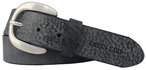 Green Yard Exklusiver Samtweicher Damen Ledergürtel, 4 cm Breite, Dunkelgrau, 100 cm (Gesamtlänge 115 cm)