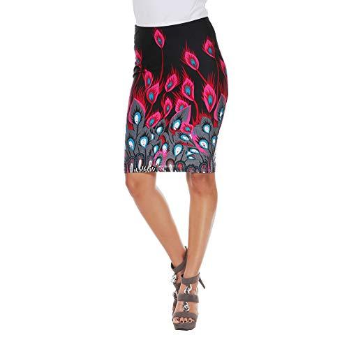 WM Women's Feather Print Pencil Skirt (Fuchsia Peacock, XL)