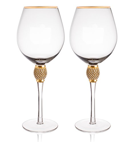 Trinkware Gold Rimmed Wine Glasses Set of 2 - Rhinestone Champagne Flutes