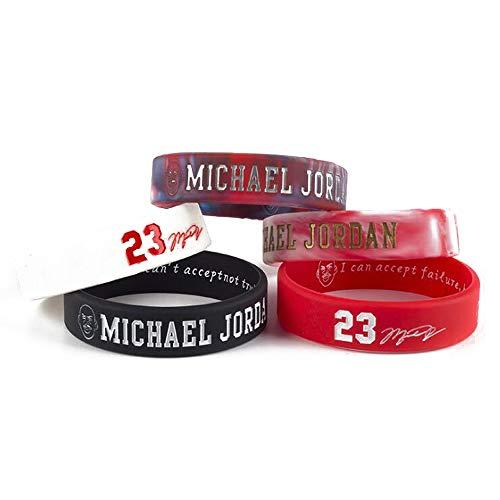 Lorh's store Basketball Jordan inspirierende Signatur Armbänder Sport Silikon Armband 5 Stücke