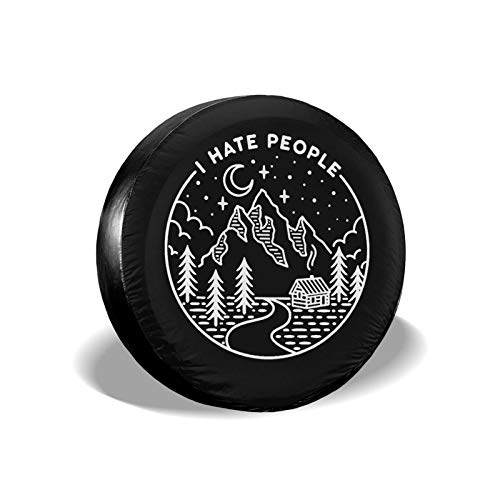 Hitamus I Hate People Camping Spare Tire Cover for Jeep Wrangler RV SUV Camper Travel Trailer Accessories 14 15 16 17 Inch Sunscreen Dustproof Wheel Cover