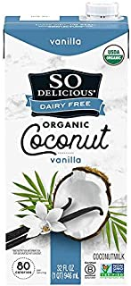 So Delicious Dairy Free Shelf-Stable Coconutmilk, Vanilla, Vegan, Non-GMO Project Verified, 1 Quart