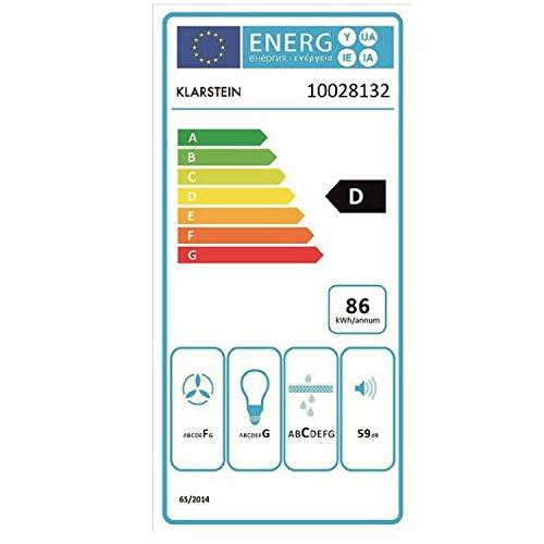 Klarstein Lumio Primo - Campana extractora pared, Diseño Retro, Ventilación Aspiración, 3 Niveles, Filtro de aluminio, Capacidad 430 m³ aire/h, Acero inoxidable, 60 cm, Negro