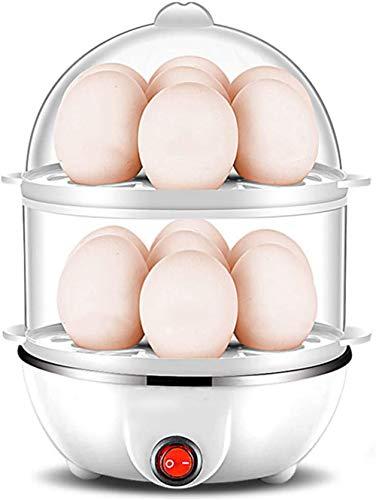Elektrische eierkoker, Eierkoker voor huishoudelijk gebruik, Mini Easy Rapid Egg Maker, Dubbellaagse capaciteit van 14 eieren, Met bescherming tegen oververhitting, automatische uitschakeling