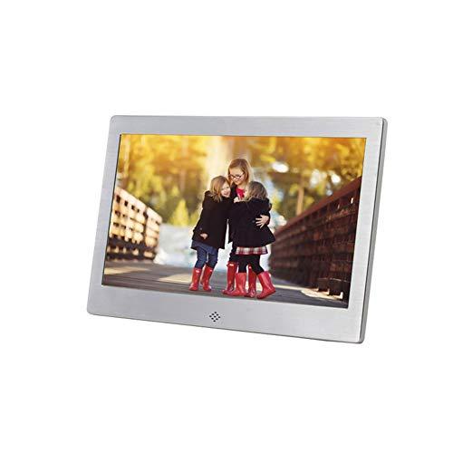 Marco de fotos digital LED de 10 pulgadas, de metal, con vídeo, música, calendario, reproductor de reloj, resolución 1024 x 600