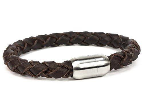 SIMARU Designer Herren Lederarmband – Geflochtenes 8mm Männer Armband aus pflanzlich gegerbtem Leder mit Edelstahl Magnet Verschluss – Allergikerfreundlich & Chromfrei (braun (Größe XL))