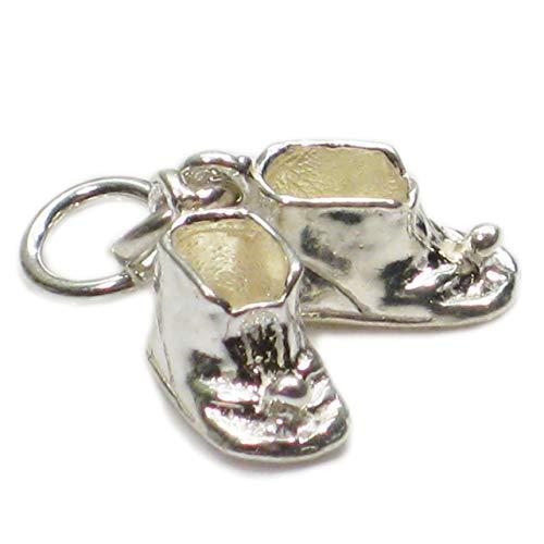 Patrones para patucos de bebé botas de plata de ley 925 para pulsera. 1 x par colgantes babies CE2586