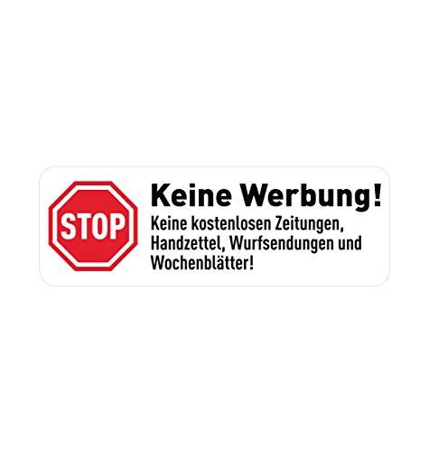 GRAVURZEILE Aufkleber - Keine Werbung - 10x Stück - Briefkasten-Aufkleber in weiß - UV Beständig Wetterfest Selbstklebend - 100% Digitaldruck