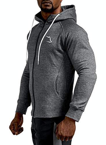 Grizzly Wear Elementary Zipper | Bekleidung für Gym Workout, Sport und Lifestyle , Dark Grey, S