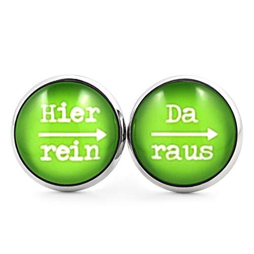 SCHMUCKZUCKER Damen Herren Unisex Ohrstecker mit Spruch Hier rein - da raus Lustige Edelstahl Ohrringe Silber Hellgrün 14mm