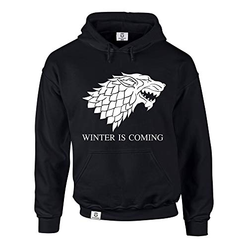 shirtdepartment Hoodie Game of Thrones Winter is Coming Kapuzenpullover Schattenwolf, schwarz-Weiss, L