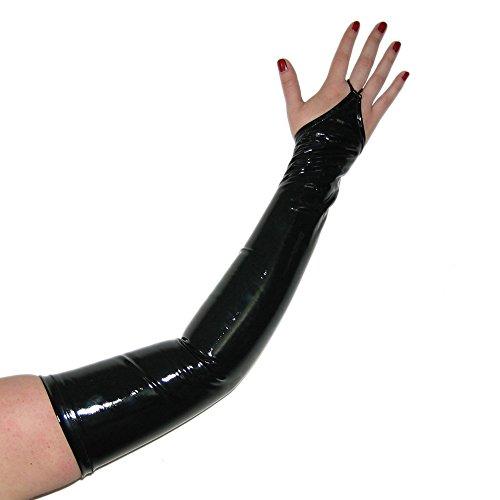 Rubberfashion Lange Lack Handschuhe, Gothic Handschuhe bis zum Oberarm mit beschichteter Oberfläche für Frauen und Herren Paar schwarz M