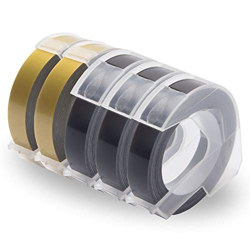 UniPlus 3D Nastro Etichette Compatibile per Dymo Omega 3D Embossing Tape Dymo Organizer Xpress pro Office Mate II Dymo Junior Omega Etichettatrici, 9mm x 3m, Bianco su Nero/Oro, 5 Pz