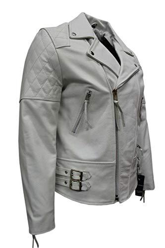 Boots and Leather Immobilier Nappa Souple Man 233 Blanc Brando Couleur Style Motard Blouson de Cuir (EU 48 / UK S)