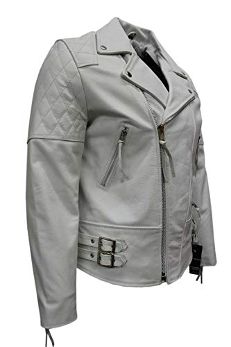Boots and Leather Immobilier Nappa Souple Man 233 Blanc Brando Couleur Style Motard Blouson de Cuir (EU 48 / UK S)