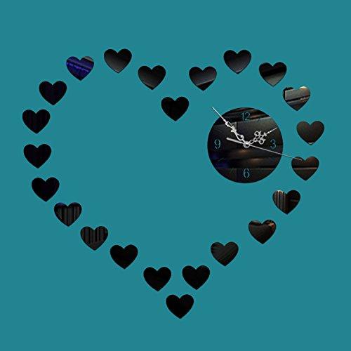 Persoonlijkheid Decoratie Creatieve Wandklok Mode Spiegel Klok Stille Liefde Wanneer De Klok Woonkamer Slaapkamer Slaapbank Achtergrond Muur Spiegel Zwart