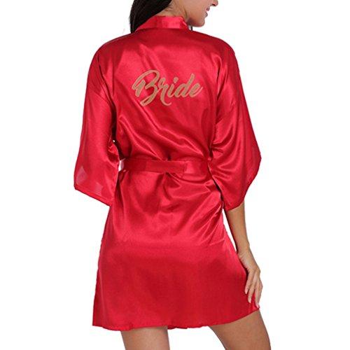 JiXuan la Mujer la túnica la túnica Corta la Kimono la Seda Las Batas de satén para los Regalos de Boda con Brillo Dorado Marron XL