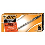 BIC Cristal Xtra Bold Ballpoint Pen, Bold Point (1.6mm), Black, 12-Count