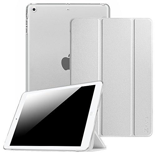Fintie, hoes, compatibel met iPad Air 2 (2014 model), iPad Air (2013 model), ultradun, superlicht, beschermhoes met transparante achterkant met automatische slaap-waakfunctie zilver