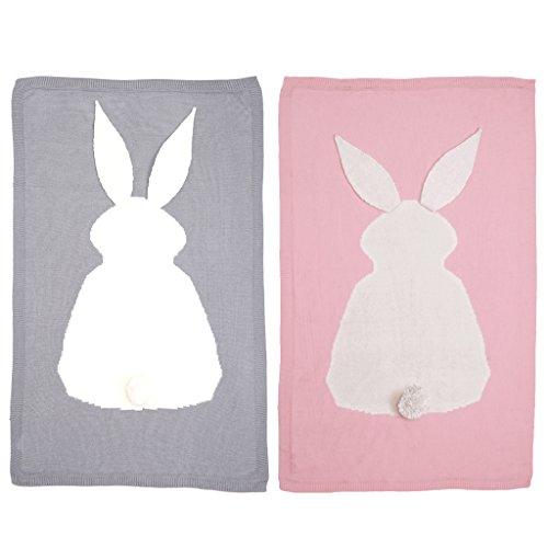 SM SunniMix 2pcs Niños Recién Nacidos Manta de Conejo Baño Envoltura Fácil para Dormir Swaddle Ropa de Cama