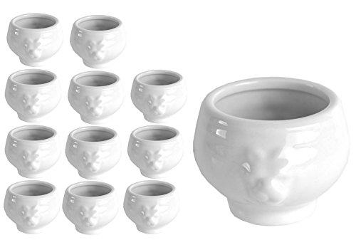 Van Well 12er Set Mini-LÖWENKOPF-Terrine, 60 ml, Dip-Schale, Schälchen im königlichen Design, Löwenköpfchen, edles Markenporzellan
