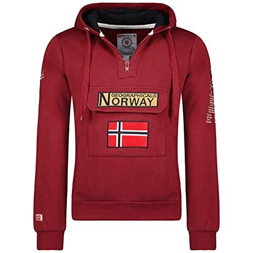 Geographical Norway GYMCLASS Men - Sudadera Capucha Bolsillos Hombre - Chaqueta Casual Hombres Abrigo - Camisetas Camisa Manga Larga - Hoodie Deportiva Regular Fitness Jacket Tops (Burdeos L)