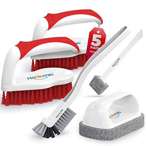 Holikme Juego de 5 cepillos de limpieza profunda, cepillo para fregar y lechada y cepillo de esquina y almohadillas para fregar con punta de raspador y almohadillas para fregar, para baño, piso, bañera, ducha, baldosas, baño y superficie de la cocina