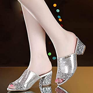 Slippers Bling Bling Glitter Mesh PU Leather Summer Style Comfortable Shoes Woman Square Heel Sandals Mature Mother's Slides Sandals Gold and Silver(9.5,Silver)