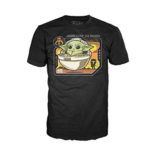 Funko Star Wars: The Mandalorian T-Shirt - The Child, Baby On Board (Negro)