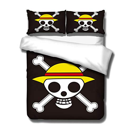 Funny Luffy Cosplay Bed Set 3D One Piece Anime Bedding Set Twin Full Queen King Size Soft Microfiber...
