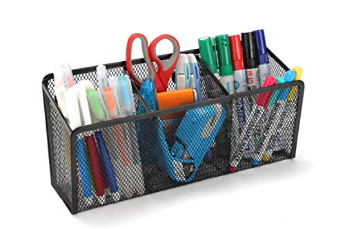 StorageMax Magnetic Organizer, Pencil Holder and Magnetic Storage Basket with 3 Large Compartments and Extra Strong Magnets, Wire Mesh Metal (Black)