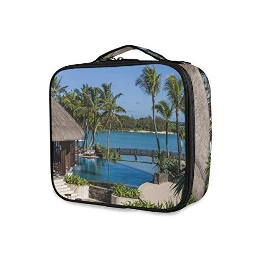 Professionelle Make-up-Tasche Tragbare Tropen Resorts Coast Pools Multifunktions für Frauen Mädchen Drucken Kosmetik-Box mit verstellbaren Fächern