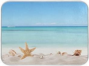 Summer Starfish Dish Drying Mats Seashells Beach Theme for Kitchen Counter Sink 16x18 in, Coastal Dish Draining Mat Baby Bottle Rack Drainer Mat Dry Pad