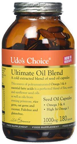 Udo's Choice Ultimate Oil Blend Capsules - Premium Natural Source of Vegan Omega 3, 6 & 9-180 Vegecaps - 90 Servings