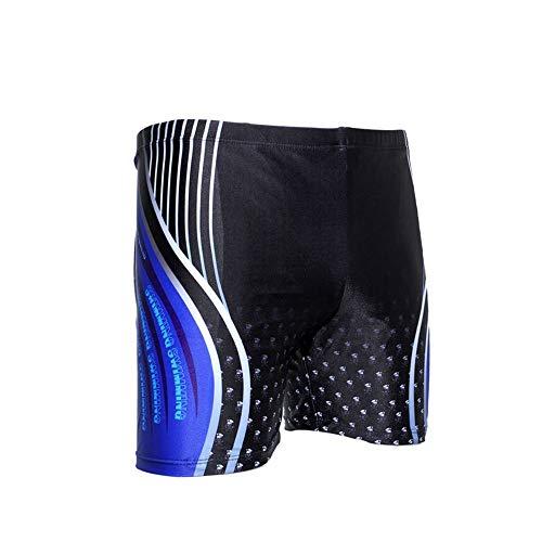 Uiophjkl Vrije tijd gezellig Heren sneldrogende zwembroek losse platte korte broek blauw wit gestreepte print Geschikt voor outdoor watersporten