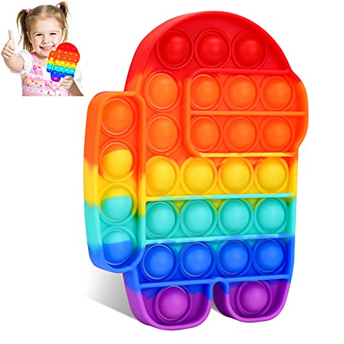 BEICHEN Fidget Toys, Push Popping Bubble Sensory Fidget Toys, Silicone Bubble Sensory Toys Stress and Anxiety Relief Toys for Adults and Kids with ADD, ADHD, Autism Special Needs (Rainbow)