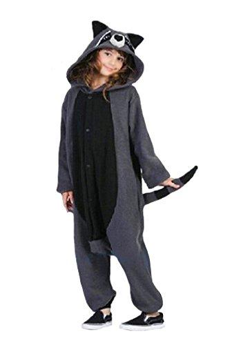 wotogold Pijama de Mapache Animal Trajes de Cosplay Adultos Unisex Gray