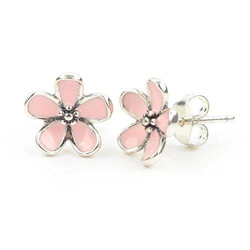 Pendientes con flor de cerezo en plata de ley 925 de Stone Beads