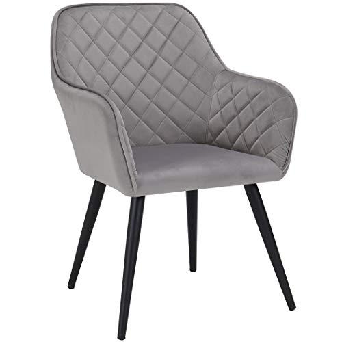 Duhome Esszimmerstuhl aus Stoff (Samt) Farbauswahl Retro Design Armlehnstuhl Stuhl mit Rückenlehne Sessel Metallbeine 8058, Farbe:Grau, Material:Samt