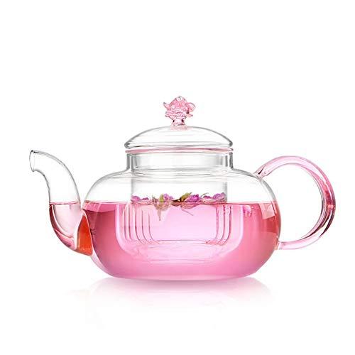 Thick glass flower teapot heat-resistant transparent tea brewing tea glass pot single pot CHAJU