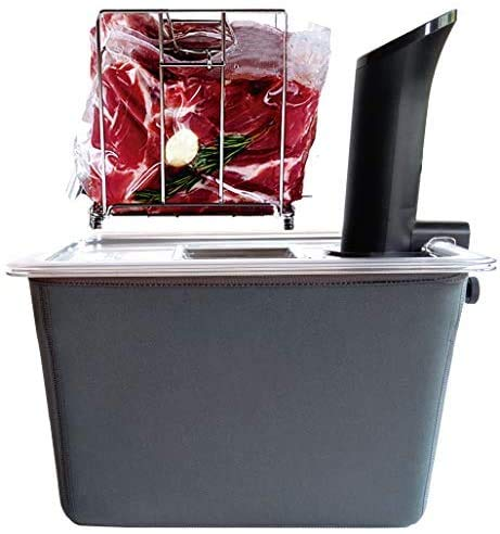 Väeske Sous Vide Container with Lid | Fits Most Sous Vide Cookers | Sous Vide Accessories (12 Quarts, Rack + Insulator)