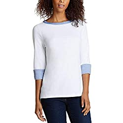 Image of Nautica Women's 3/4 Cuffed Sleeve Chambray Casual Top: Bestviewsreviews