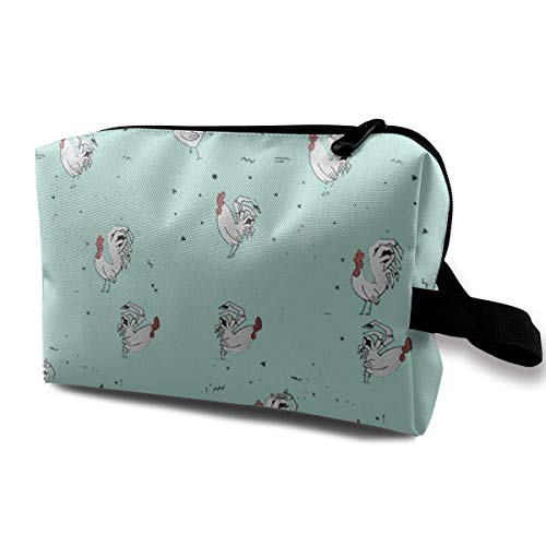 Hdadwy Mint Green White Chicken Pattern Makeup Bag Portable Travel Cosmetic Organizer Pouch for Women and Girls with Zipper Toiletry Bag