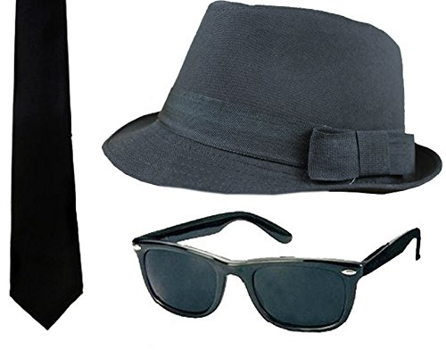 ILOVEFANCYDRESS 3 TEILIGES Brothers of Blues Set, Filz Hut MIT DEM Durchmesser VON 58 cm , Schwarze Sonnenbrille UND Schwarze Krawatte